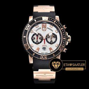 Ulysse Nardin Maxi Marine Diver Chronograph Beyaz Kadran Siyah Kordon ETA