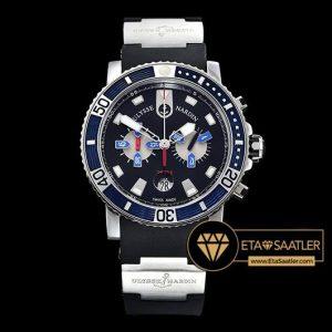 Ulysse Nardin Maxi Marine Diver Chronograph Mavi Siyah Kadran Siyah Kordon ETA