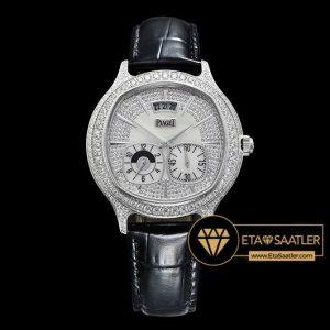 Piaget Emperador Coussin Dual Time Taşlı Çelik Kasa Beyaz Kadran ETA