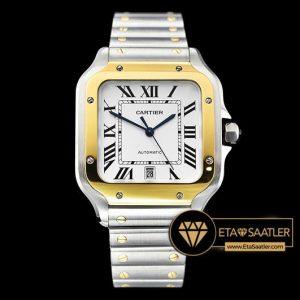 Cartier Santos De Cartier Men 2018 XL Çelik Kordon Gold Bezel ETA