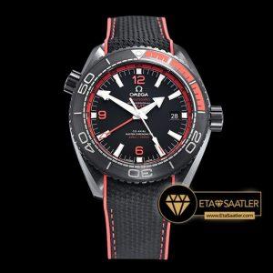 Omega Planet Ocean GMT Deep Black Kırmızı Seramik Bezel DLC Kaplama ETA