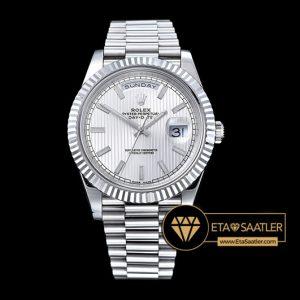 Rolex Day Date 228239 Çizgili Beyaz Kadran 1:1 Super Clone ETA