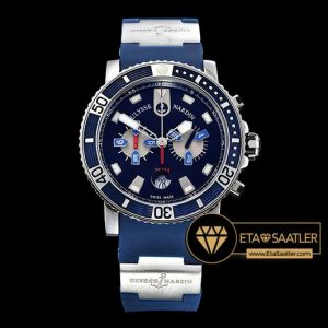 Ulysse Nardin Maxi Marine Diver Chronograph Mavi Kadran Mavi Kordon ETA
