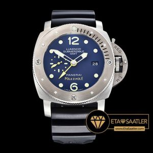 Panerai Luminor Submersible 1950 GMT Mike Horn Limited Edition Titanyum Kasa Mavi Kadran ETA